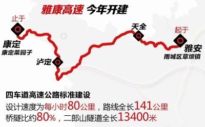 雅康高速(雅泸段)或今年底通车 成都3小时可到泸定