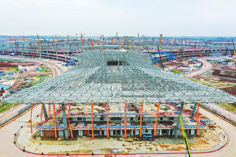 成都天府国际机场T1航站楼主体结构提前封顶